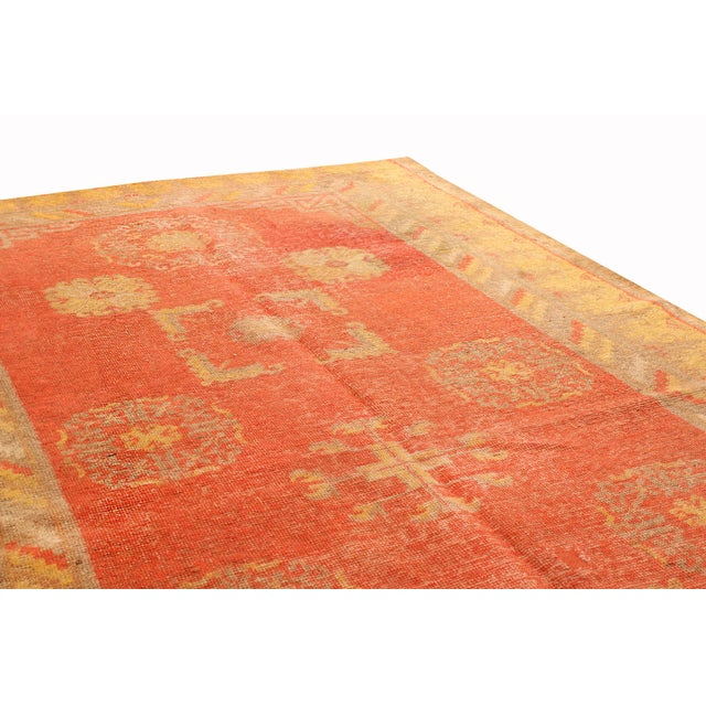 Transitional Antique Khotan Transitional Red and Yellow Wool Rug - 4′6″ × 8′4″ For Sale - Image 3 of 6