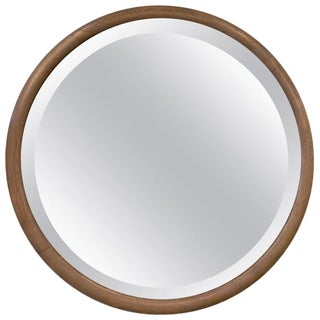 Pickled Oak Round Beveled Wall Mirror For Sale