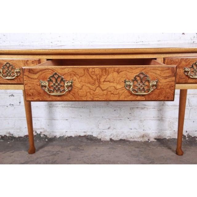 Gold Baker Furniture Queen Anne Burl Wood Writing Desk For Sale - Image 8 of 13