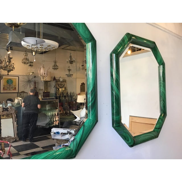 Large Pair of Italian 1970s Faux Malachite Beveled Mirrors For Sale In New York - Image 6 of 13