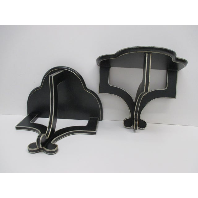 Mid-Century Modern Vintage Pair of Wall Decorative Brackets in Black and White For Sale - Image 3 of 5