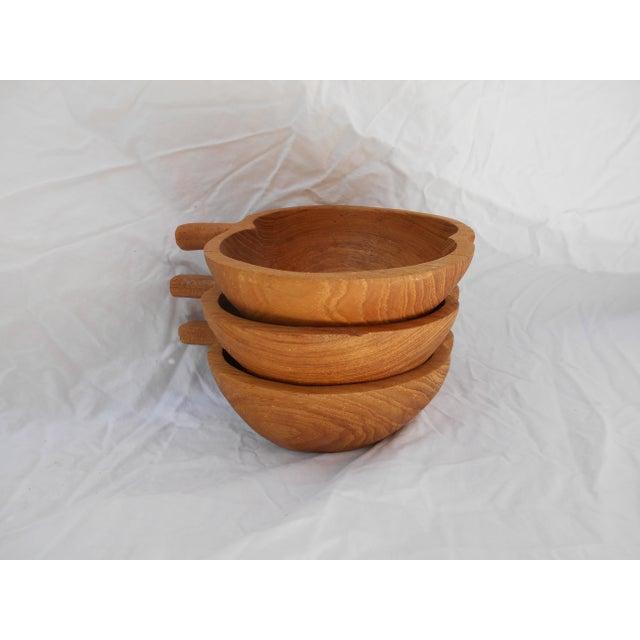 Mid-Century Modern Mid-Century Teak Nut Bowls - Set of 3 For Sale - Image 3 of 7
