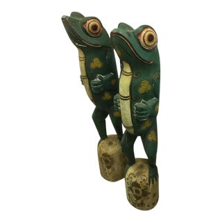 Late 20th Century Wooden Carved Frogs - a Pair For Sale