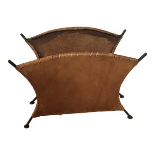 Contemporary Leather and Iron Magazine Rack For Sale
