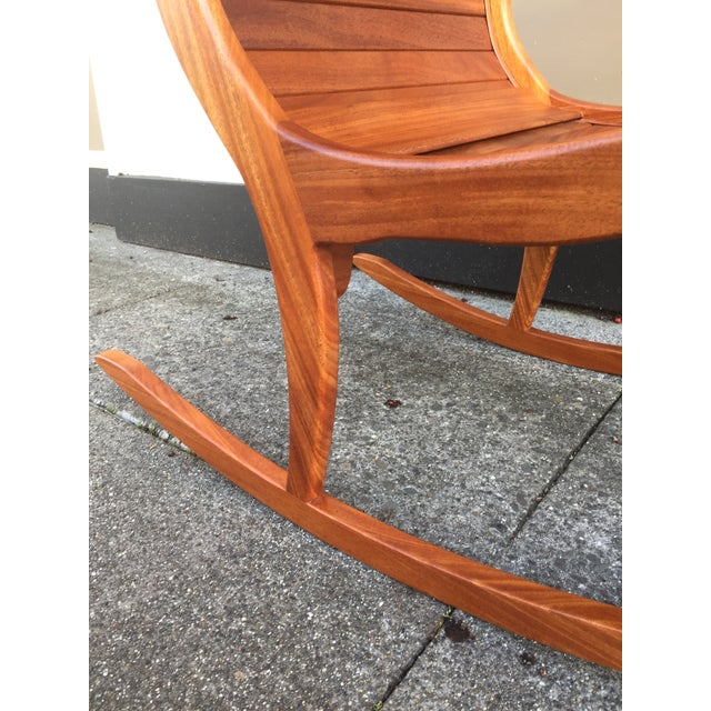 Brown Solid Cherry Wood Rocking Chair For Sale - Image 8 of 11