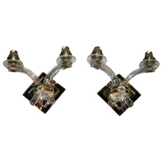 1930s Vintage French Mirrored Sconces- a Pair For Sale