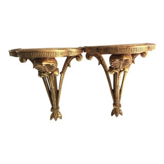 Gilded Wood Acanthus Wall Brackets - a Pair For Sale