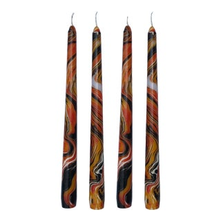 """Halloween 10"""" Marbleized Taper Candles, Set of 4 For Sale"""
