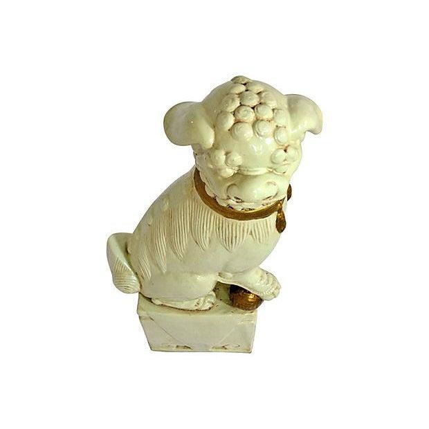 Creme and Gold Ceramic Foo Dog - Image 2 of 6