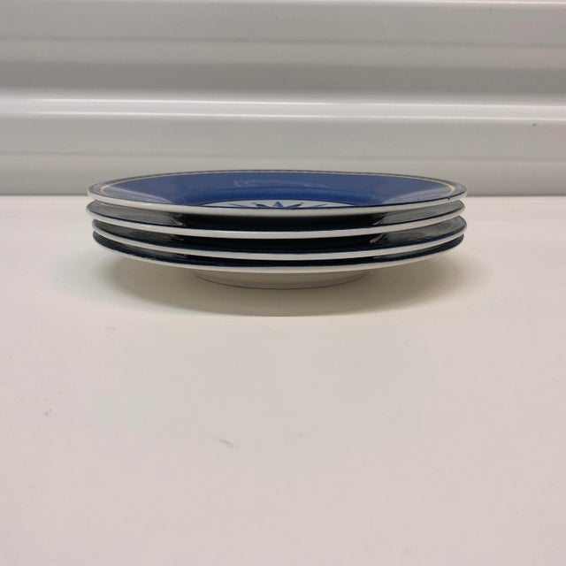 Mid-Century Modern Set of (4) Porcelain Dessert Blue and White Dessert Plates For Sale - Image 3 of 6