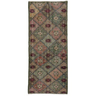 Zeki Muren Distressed Vintage Turkish Sivas Rug - 3′ × 6′10″ For Sale