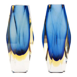 "Vintage 6"" Murano Art Glass Seguso Blue & Amber Faceted Vases by Alessandro Mandruzzato - a Pair For Sale"