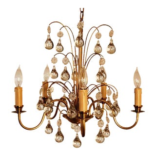 Vintage Swedish Brass and Crystal Chandelier by Orrefors For Sale