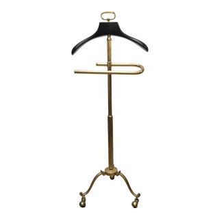 Stylish Italian Gentleman Polished Brass Valet Stand For Sale