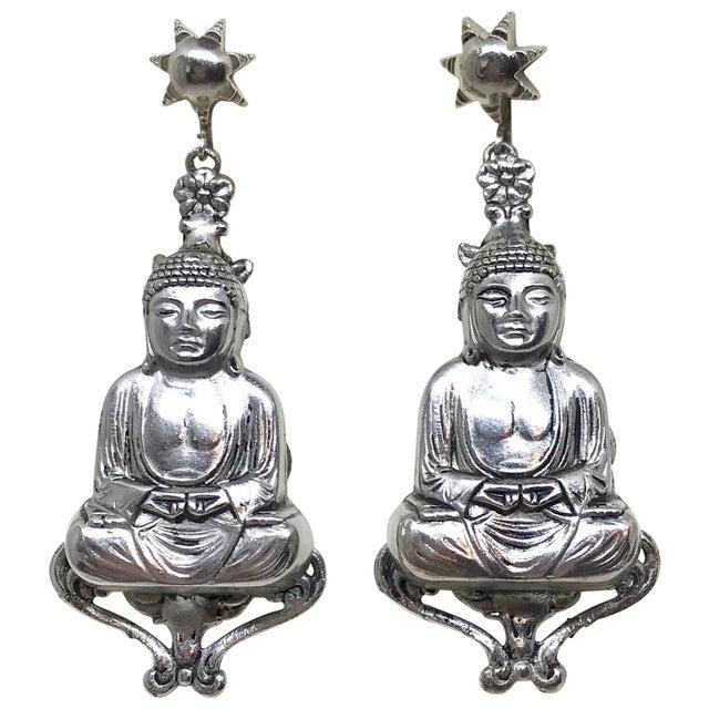 Metal Mid-Century Silvertone Metal Buddha Dangling Screw-Back Earrings For Sale - Image 7 of 7