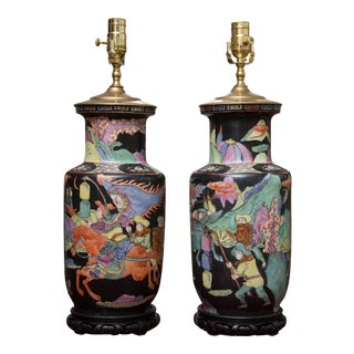 Pair of 19th Century Chinese Colorfully Painted Vases as Lamps For Sale