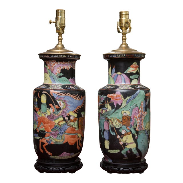 World Class Pair Of 19th Century Chinese Colorfully Painted Vases As