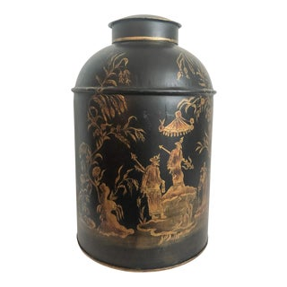 Tole Chinoiserie Lidded Tea Canister For Sale