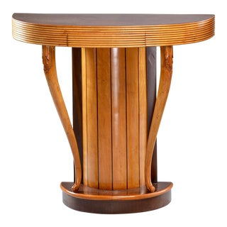 1940s Art Deco Demilune Console With Reeded Edge