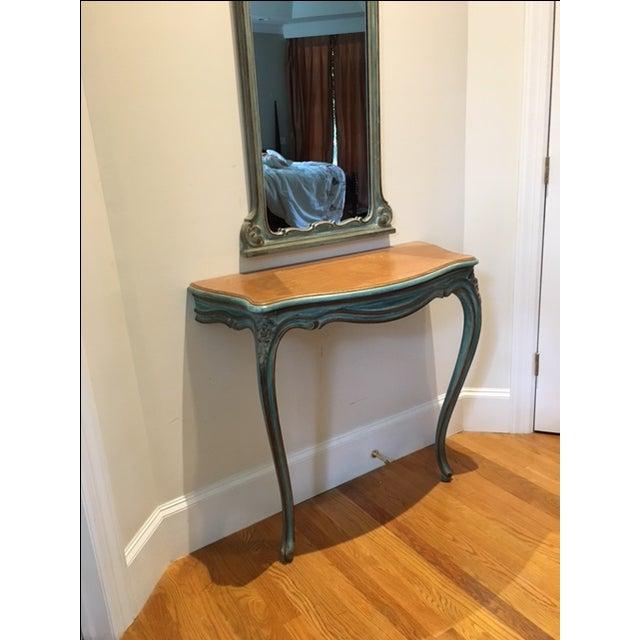 Antique Aqua-Painted Mirror & Console - Image 3 of 5