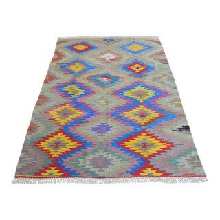 Flat Weave Turkish Barak Kilim Rug. Hand Woven Wool Diamond Rug - 5′4″ × 7′7″ For Sale