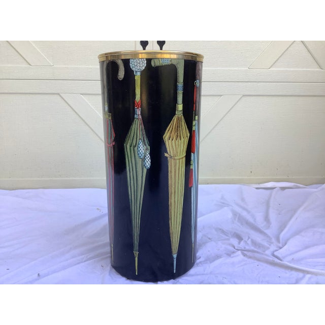 Piero Fornasetti 1970s Fornasetti Umbrella Print Black and Brass Umbrella Stand For Sale - Image 4 of 13