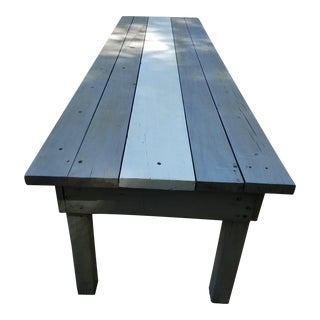 Antique 10.5' Farm Table With a Racing Stripe Down the Middle For Sale