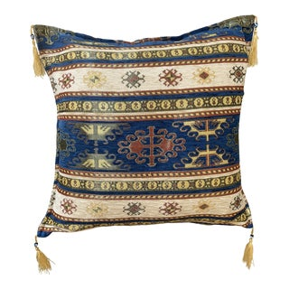 Authentic Turkic Kilim Patterned Pillow Cover - 17ʺW × 17ʺH For Sale