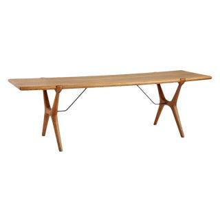 Swedish Mid-century Oak Coffee Table W/ Unusual X-legs Circa 1960s