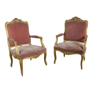 Pair of French Louis XV Style Gilt Armchairs in Faded Salmon Velvet For Sale