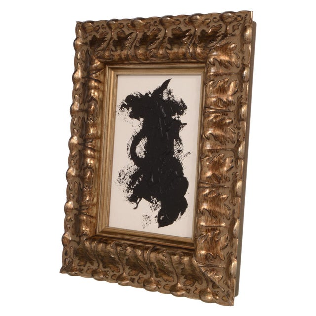 Stephen Hansrote Original Black and White Abstract Painting With Ornate Frame For Sale - Image 4 of 4