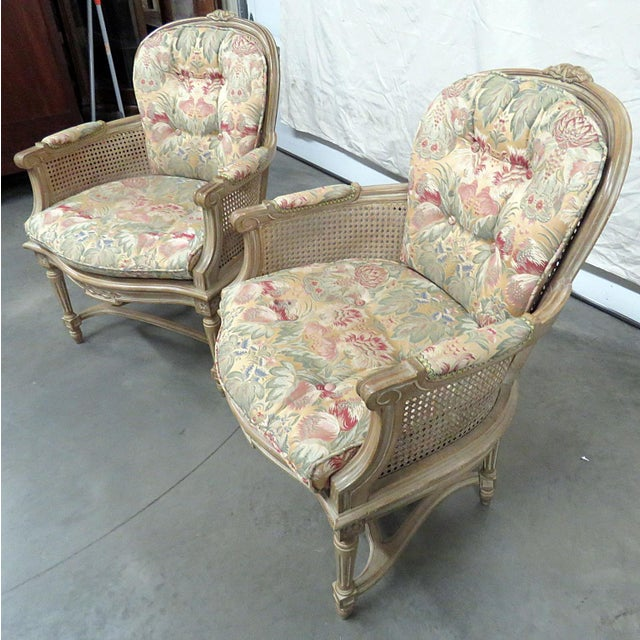 Mid 20th Century Louis XVI Style Bergeres - a Pair For Sale - Image 5 of 8