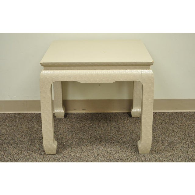 Vintage James Mont for Baker Asian Lacquered Grasscloth Occasional Side Accent Table - Image 3 of 11