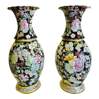 Asian Enamel and Copper Vases-Pair For Sale