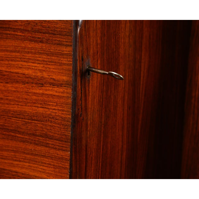 Wood Mid Century Italian Free Standing Rosewood Wall Unit With Marquetry For Sale - Image 7 of 13