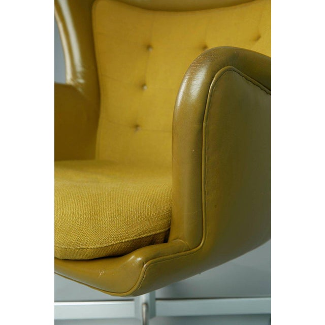 Olive Executive Wingback Chair and Ottoman by George Kasparian, Circa 1960 For Sale - Image 8 of 11
