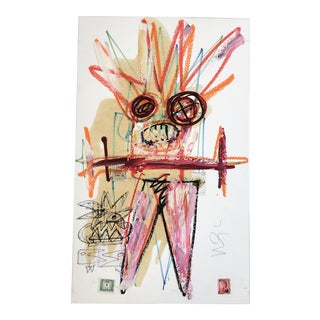 Original Vintage Wayne Cunningham Abstract Figure Oil Painting/Collage 1990's For Sale