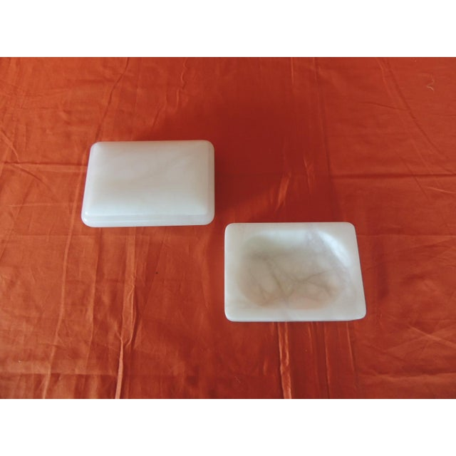 Hand carved set of covered box and soap dish Italian Alabaster decorative accessories. These pieces could be use in the...