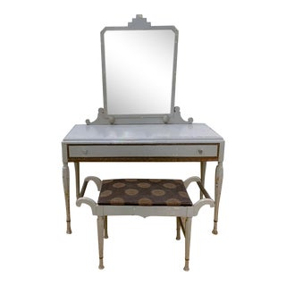 Antique Art Deco Desk, Vanity, Mirror and Chair, Signed Luce Furniture For Sale