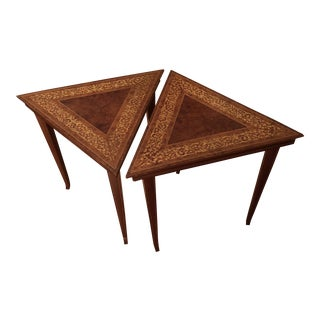 Italian Marquetry Triangle Tables - a Pair For Sale