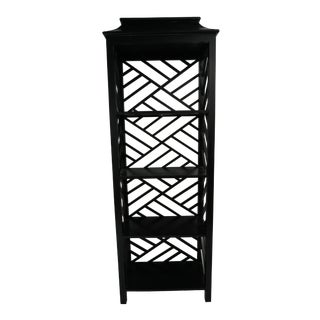 Chinese Chippendale Black Fretwork Ming Bookcase For Sale
