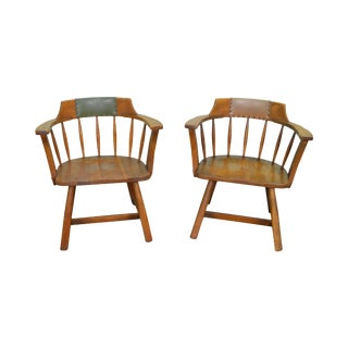 Jamestown Lounge Pair of Vintage Oak Rustic Barrel Back Arm Chairs For Sale