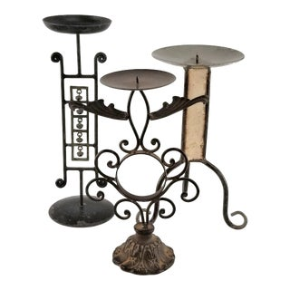 Rustic Wrought Iron Metal Pillar Candle Holders - Set of 3 For Sale