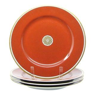 Vintage 1970s Fitz & Floyd Medallion Medaillon d'Or Orange Dinner Plates - Set of 4 For Sale