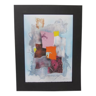 1980s Abstract Collage Lithograph Limited Edition Signed Print by Lazlo Dus For Sale