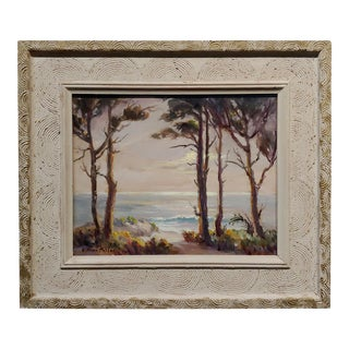 Evylena Nunn Miller -Beautiful California Coast Line-1930s Impressionist Oil Painting For Sale