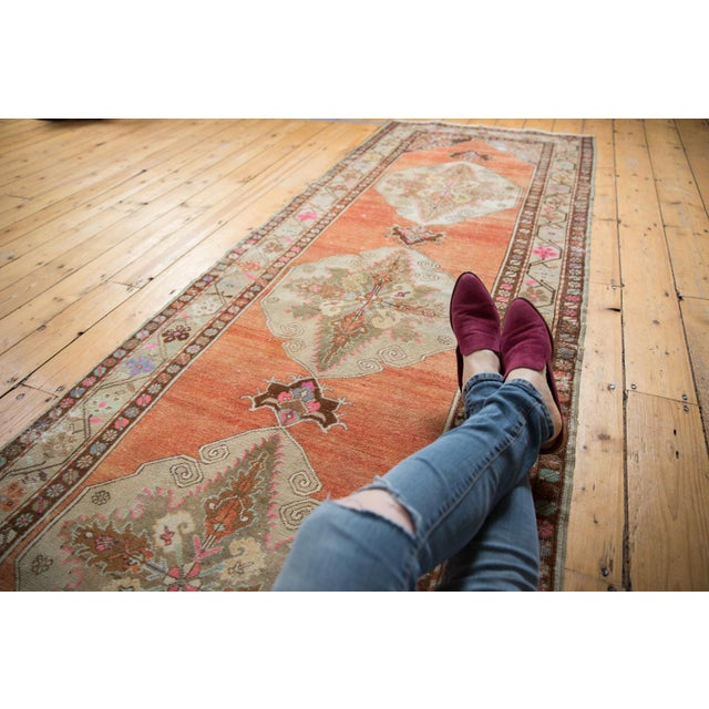 """Islamic Vintage Distressed Oushak Rug Runner - 3'5"""" X 10'11"""" For Sale - Image 3 of 13"""