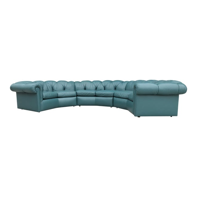 1970's Tufted Leather A. Rudin Circular Sectional Sofa For Sale