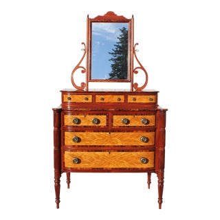 American Federal Chest of Drawers W/ Mirror For Sale