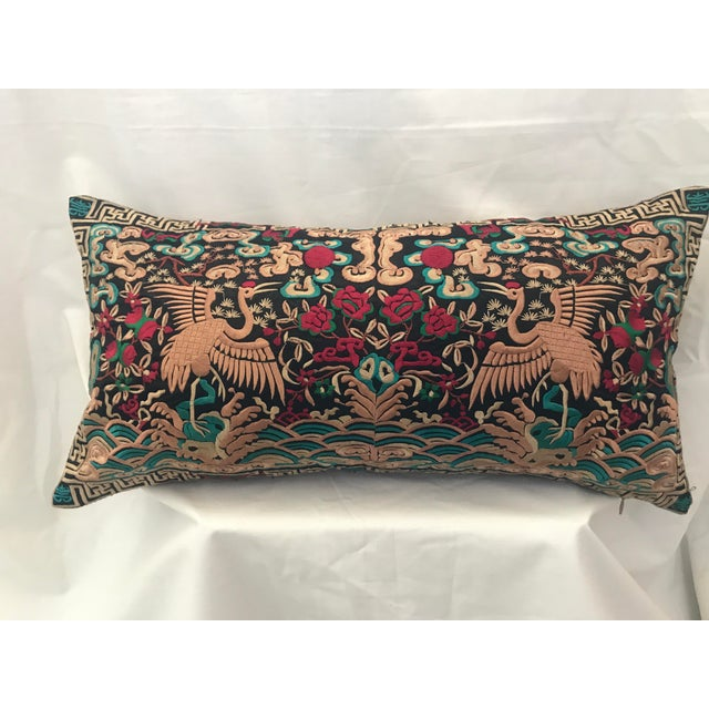 Hollywood Regency Black & Gold Silk Embroidered Chinoiserie Boudoir Lumbar Pillow For Sale - Image 9 of 9